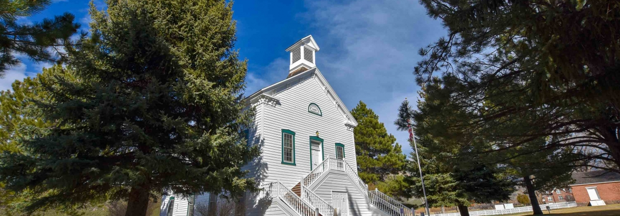 outside the Pine Valley Chapel in Utah